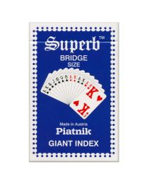 Piatnik Superb Bridge Size Spielkarten Riesen Index blau